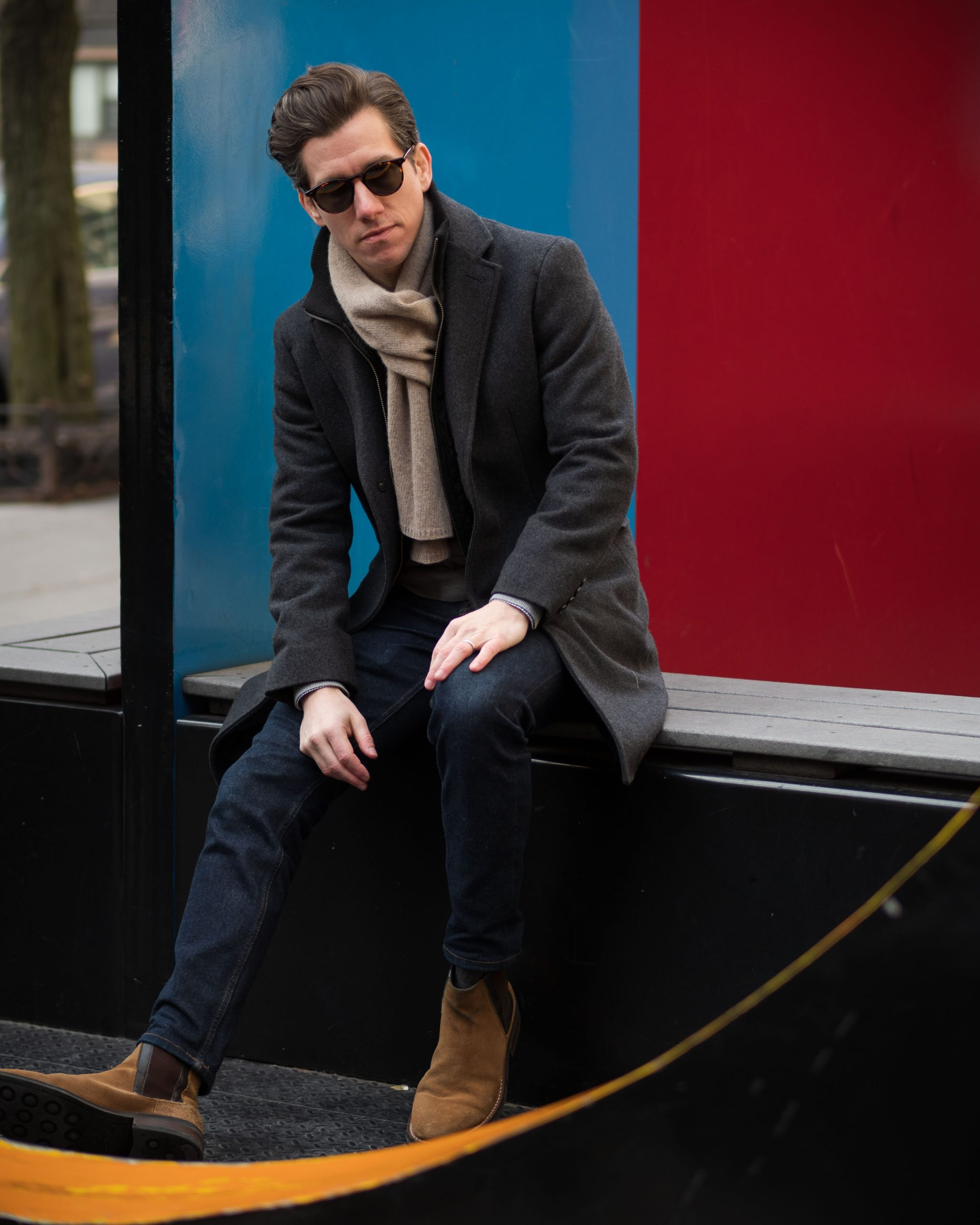Charcoal Topcoat Jeans Chelsea Boots-11