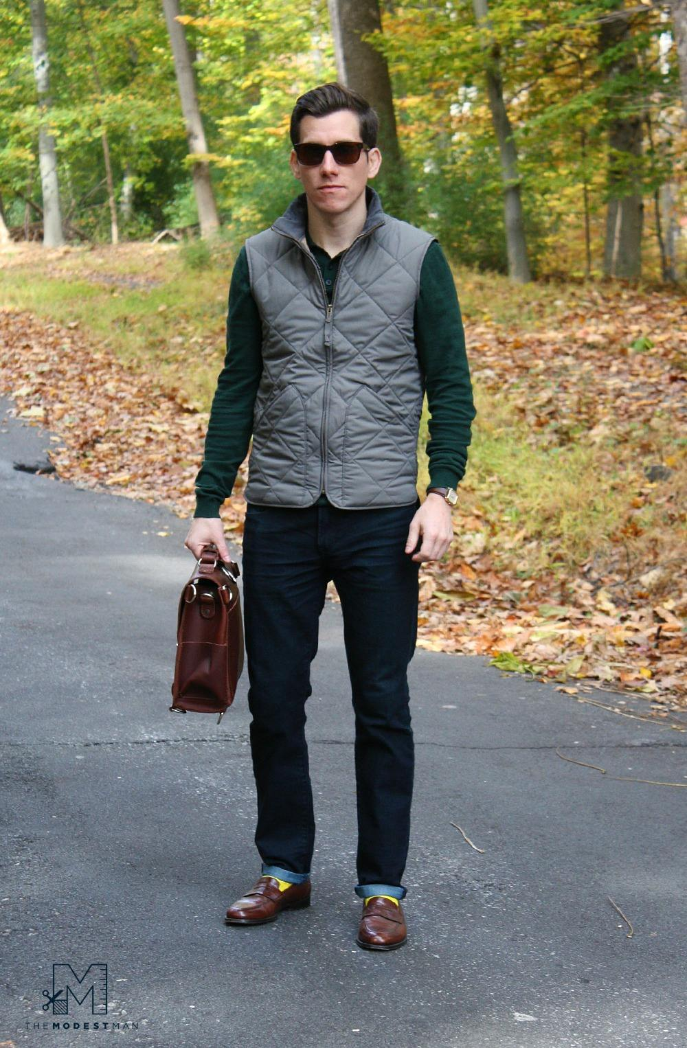 Grey Vest and Green Shirt | The Modest Man