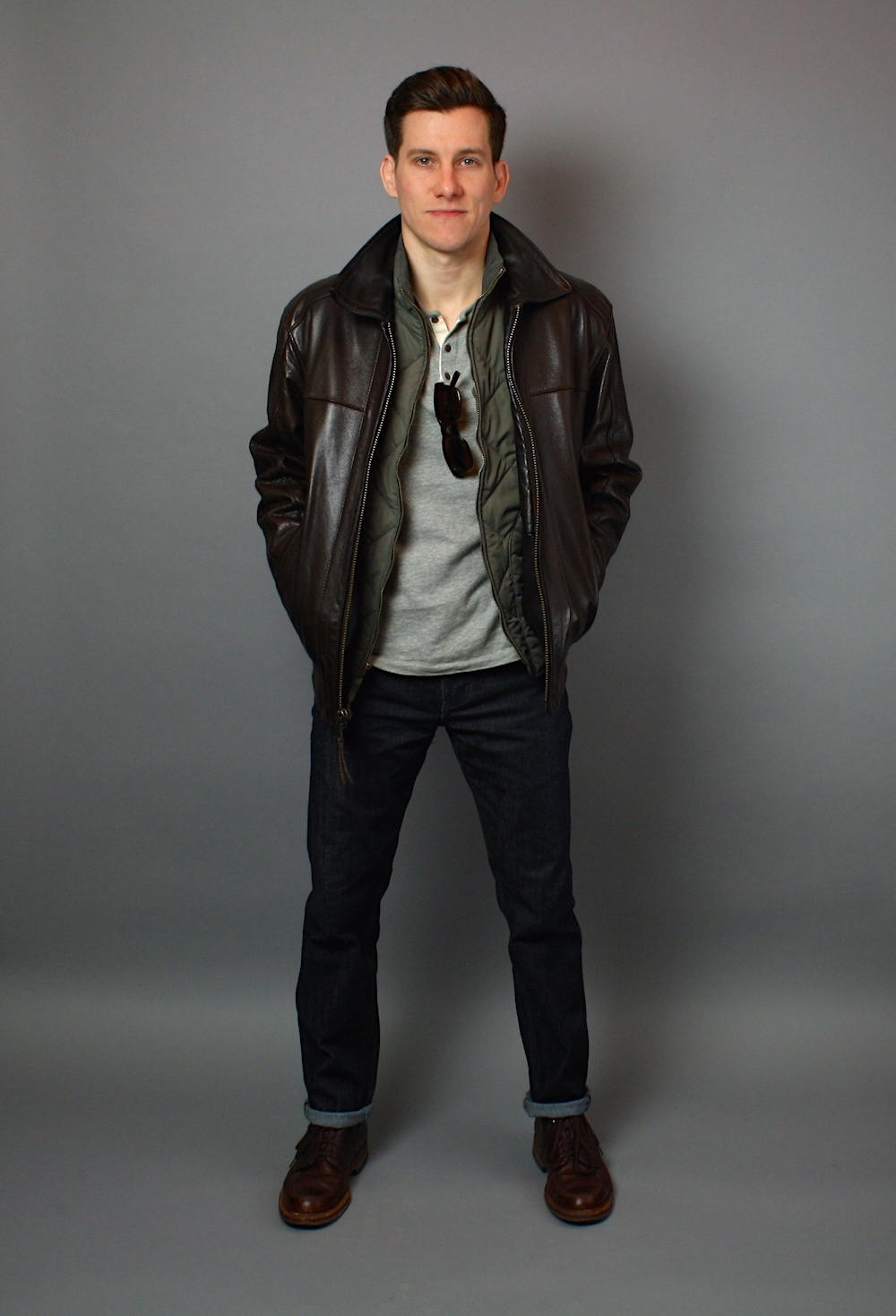 Generally, you want to pair a brown leather jacket with brown shoes and black leather jackets with black shoes. If your brown is on the darker side, you can wear black shoes. But it's a bit hard to pull of light brown shoes and a black leather jacket.