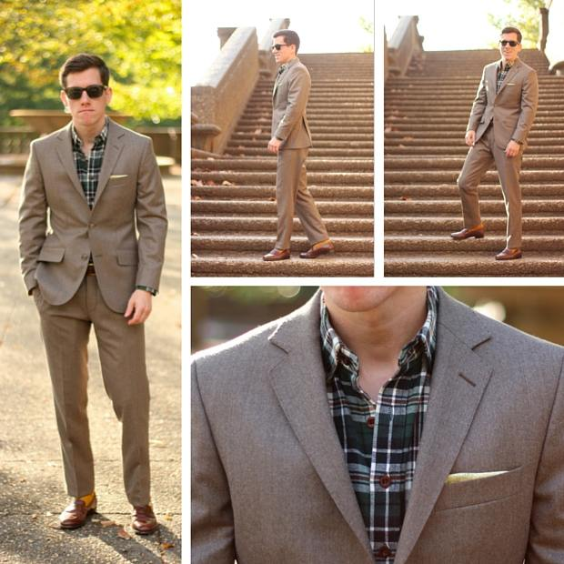 Brown flannel suit casual fit
