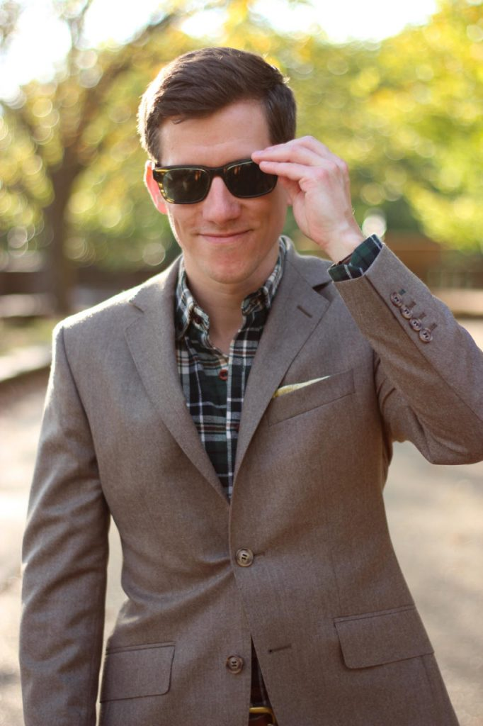 Brown suit flannel shirt