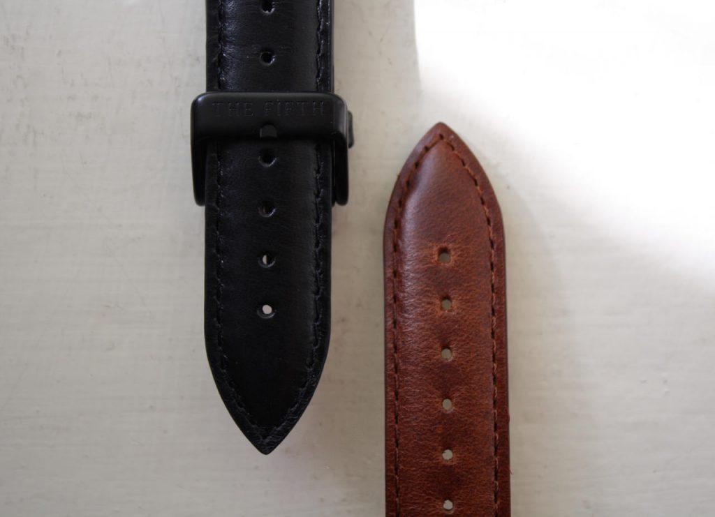 Black or brown leather watch strap