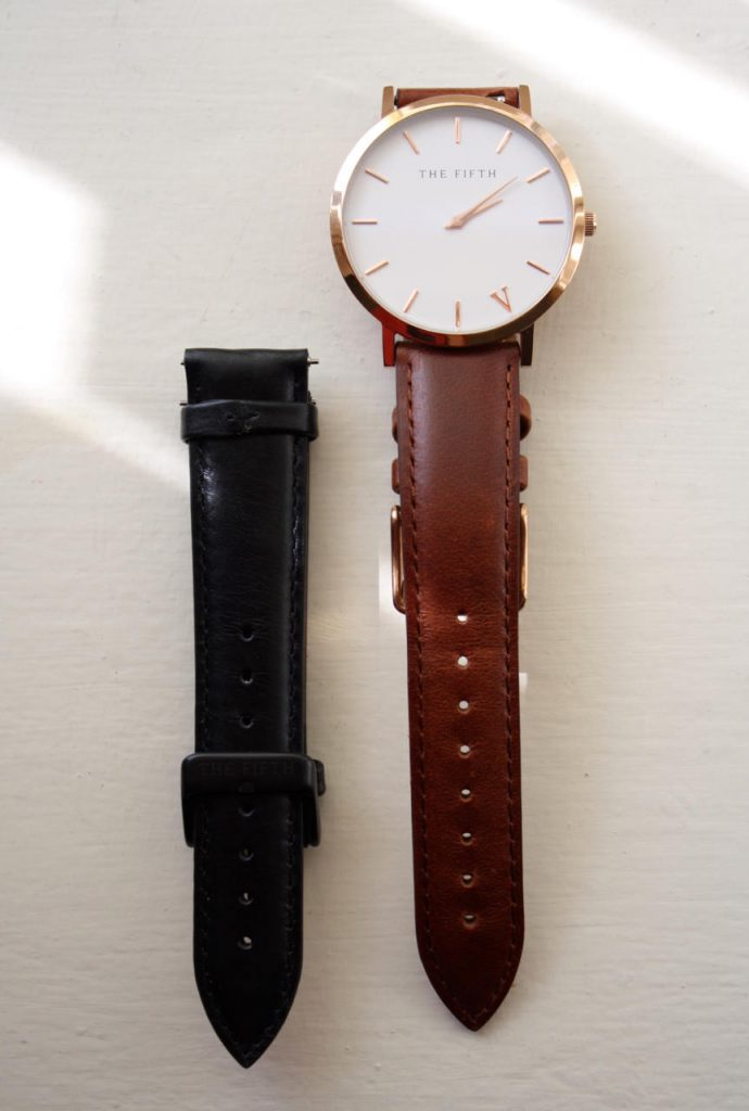 Brown and black watch straps