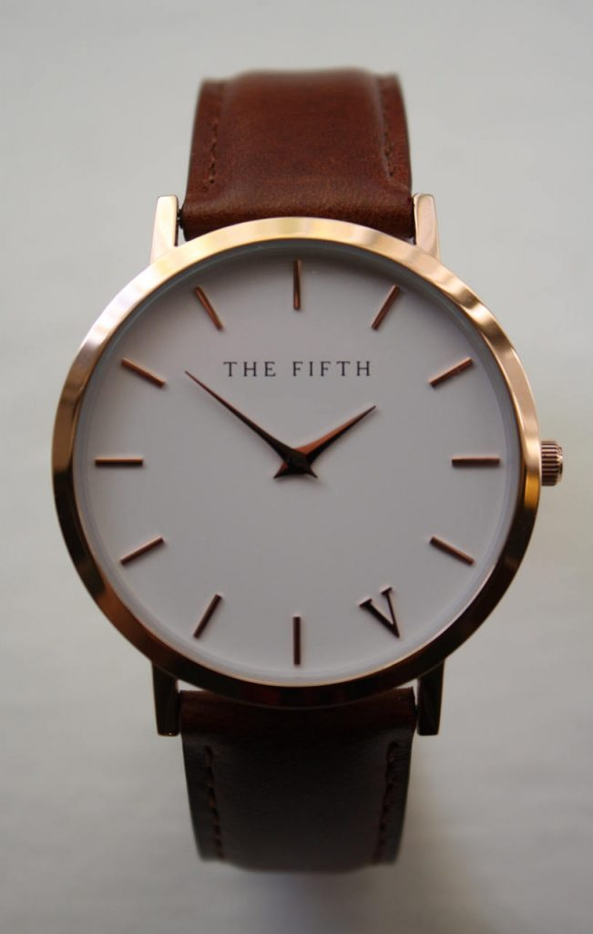 Plain face brown leather watch