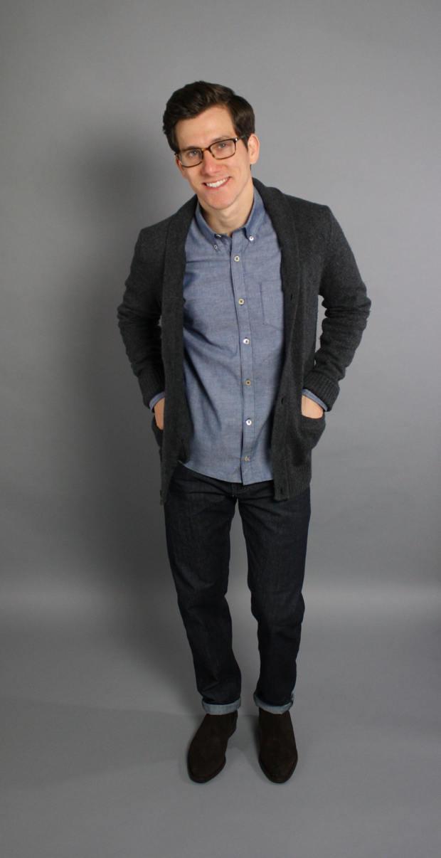Chambray shirt grey cardigan