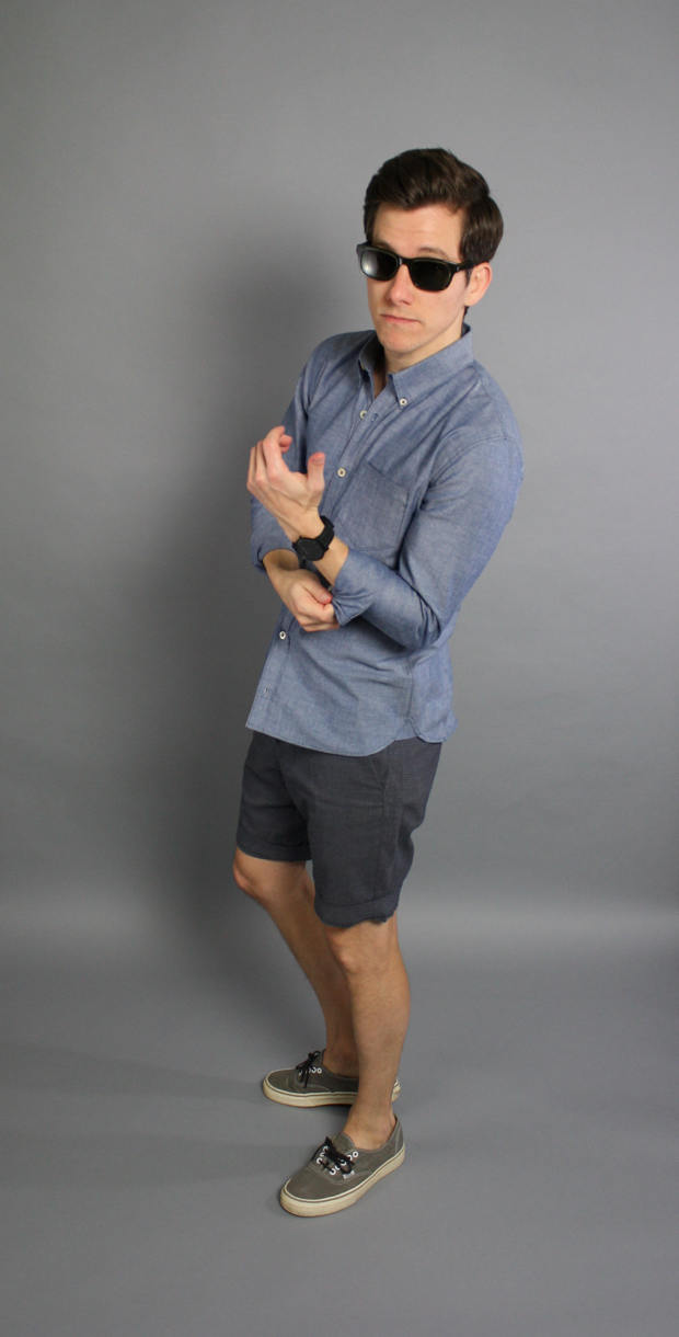 Chambray shirt grey shorts