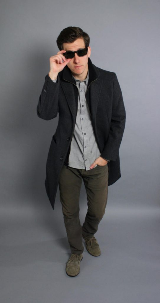 Charcoal topcoat grey shirt