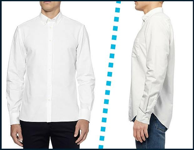 Button up shirt hem shape