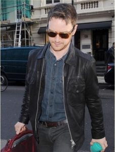James MacAvoy wearing a leather jacket