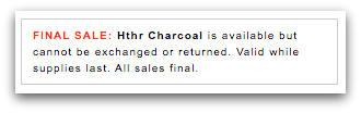 Final sale warning