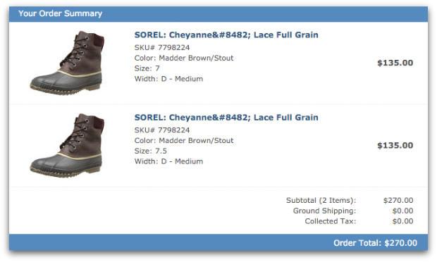 Zappos order multiple sizes