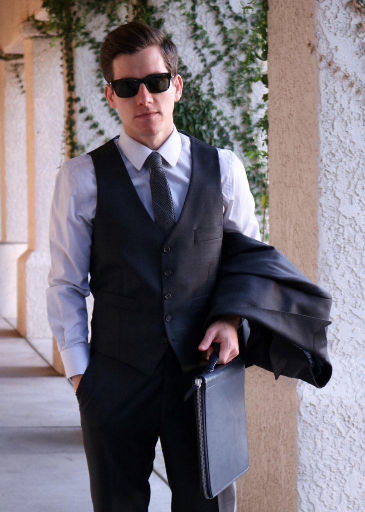 Three piece suit vest length