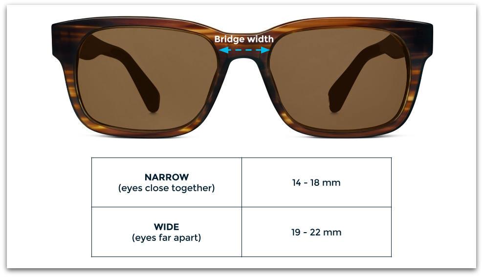 Sunglasses bridge width
