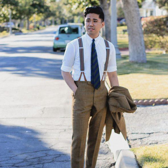 Ethan wearing suspenders