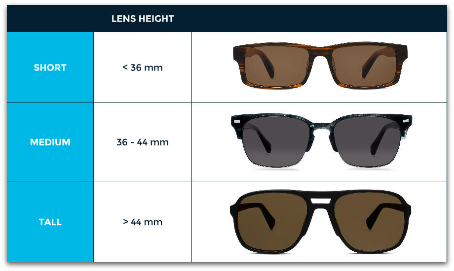 Sunglasses lens height chart