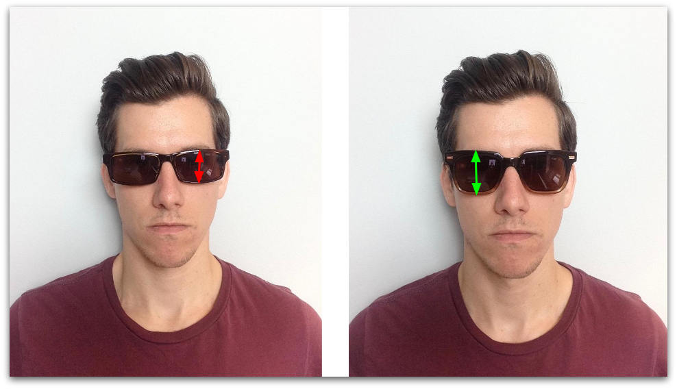 Sunglasses lens height measurement