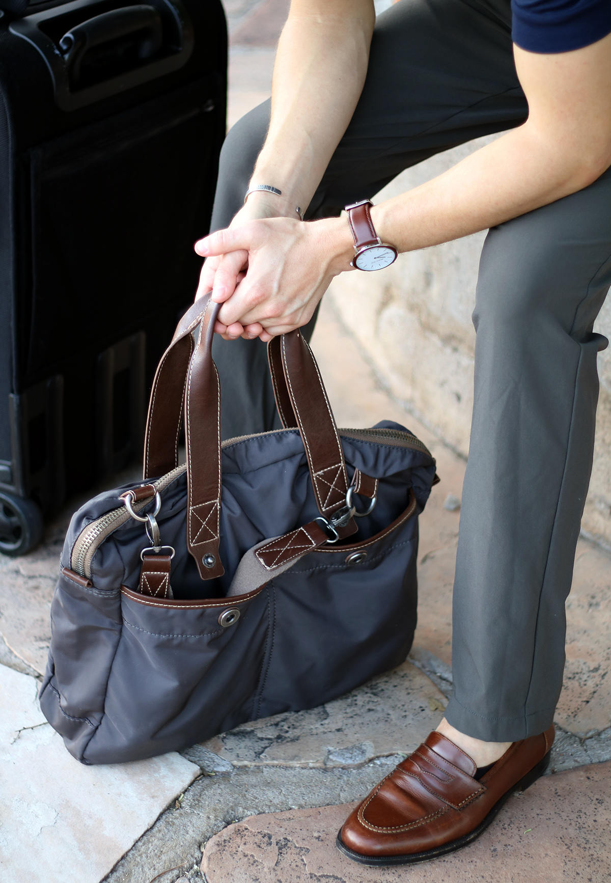 Brown leather details