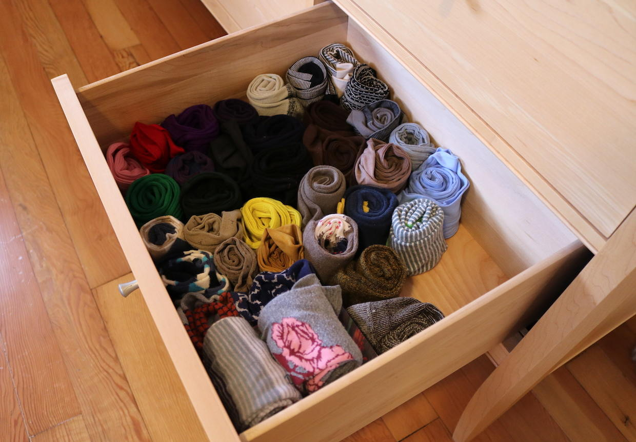 Rolled socks in drawer