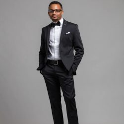 Vann Lassiter wearing black tie
