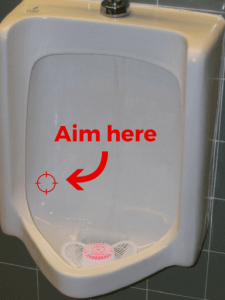 Where to aim in urinal