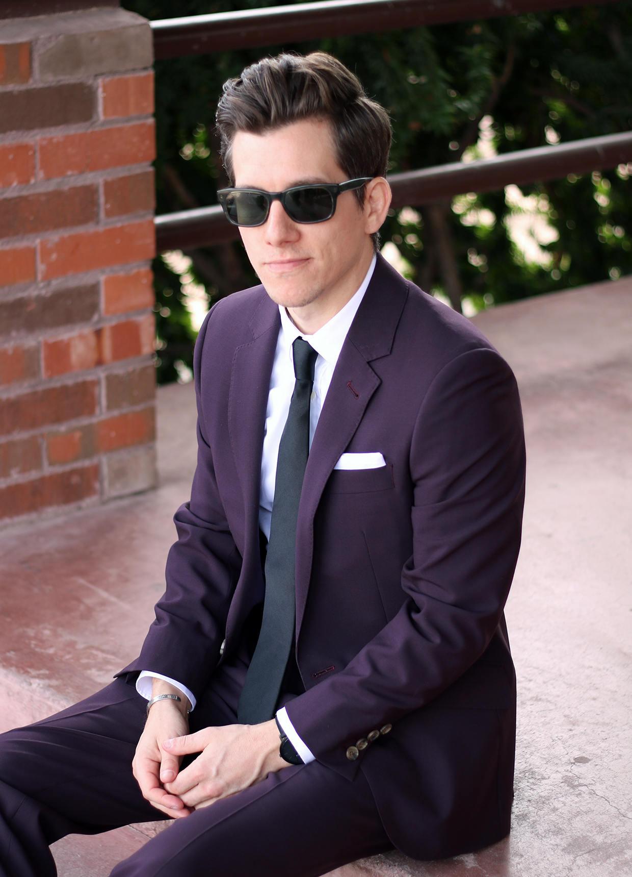 Custom burgundy suit