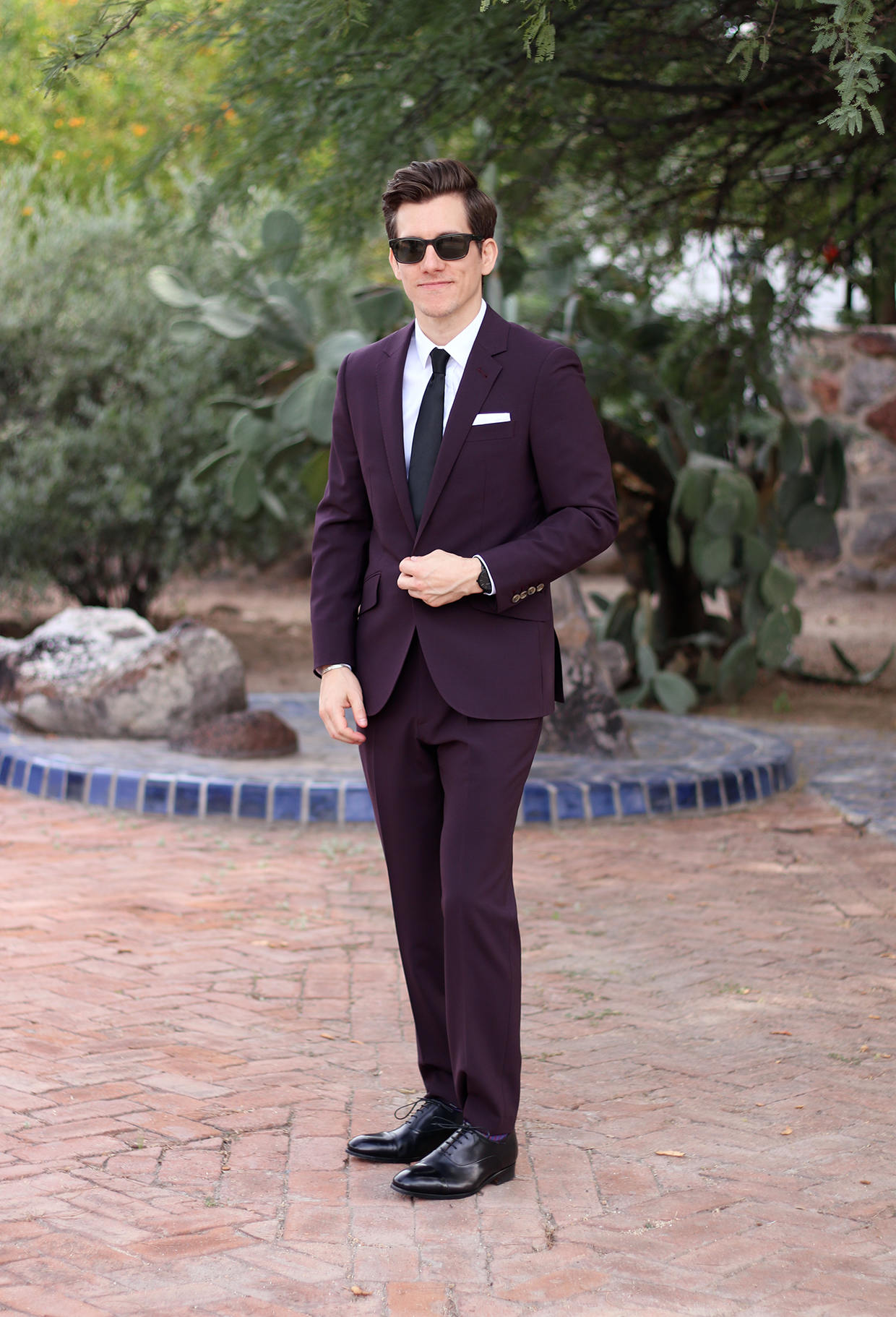 Indochino burgundy suit