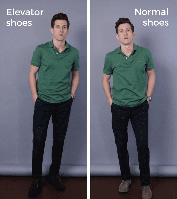 Normal shoes vs elevator shoes