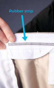Rubber strip on pants