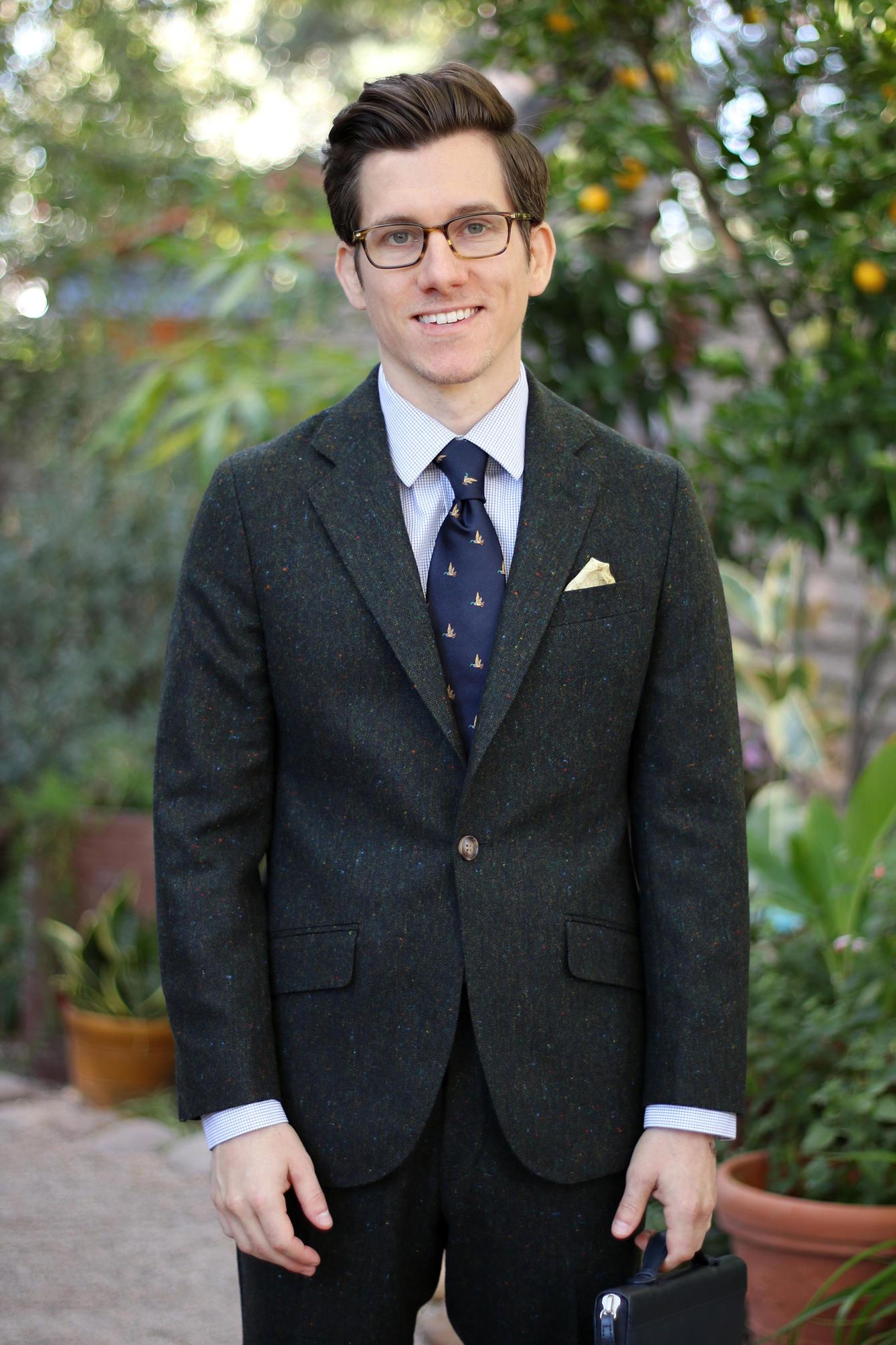 Oliver Wicks olive tweed suit