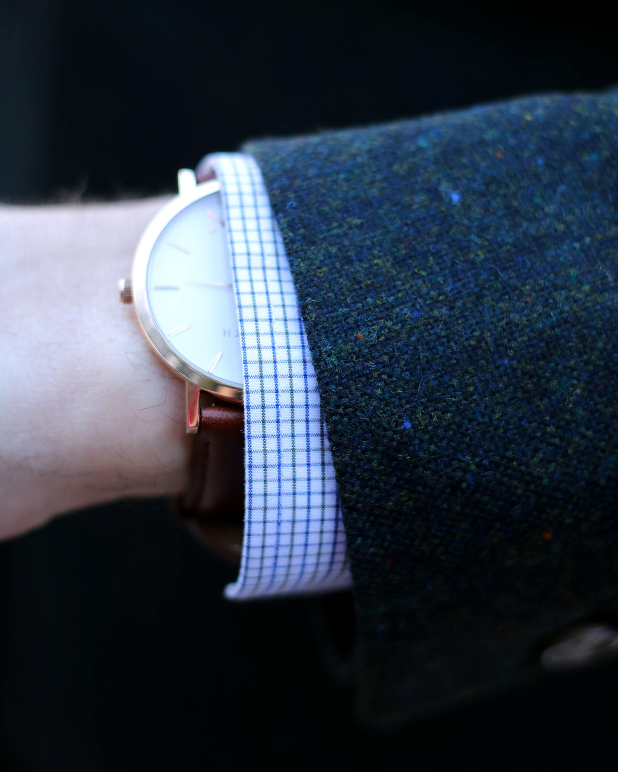 Jacket sleeve cuff and watch