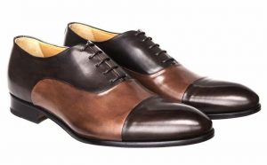 Two tone, brown on brown cap toe Oxfords