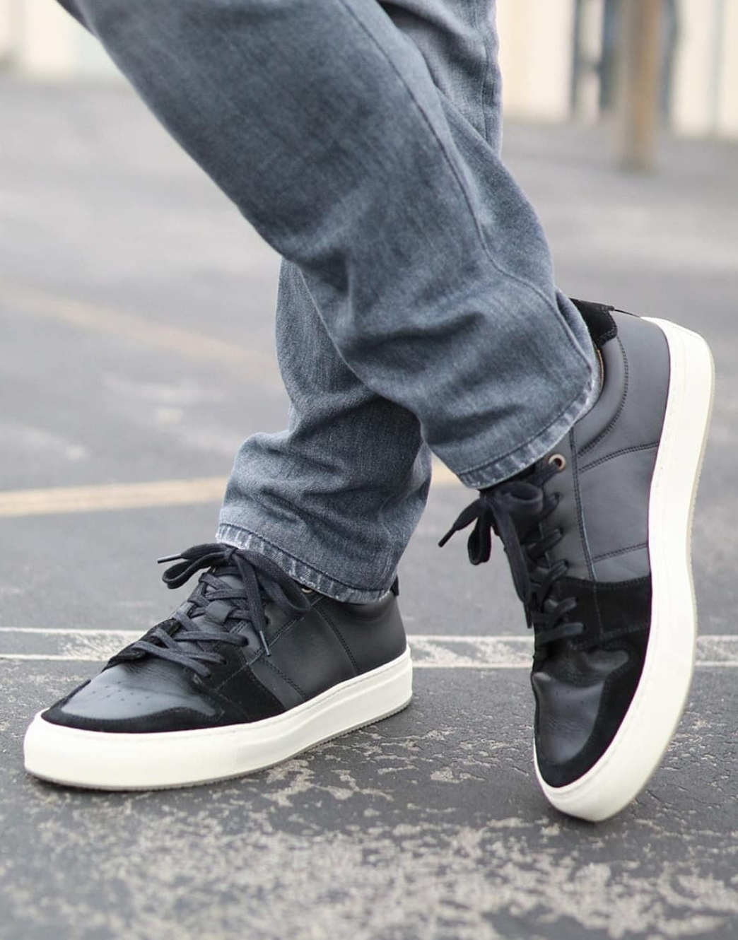 Black and white minimal sneakers