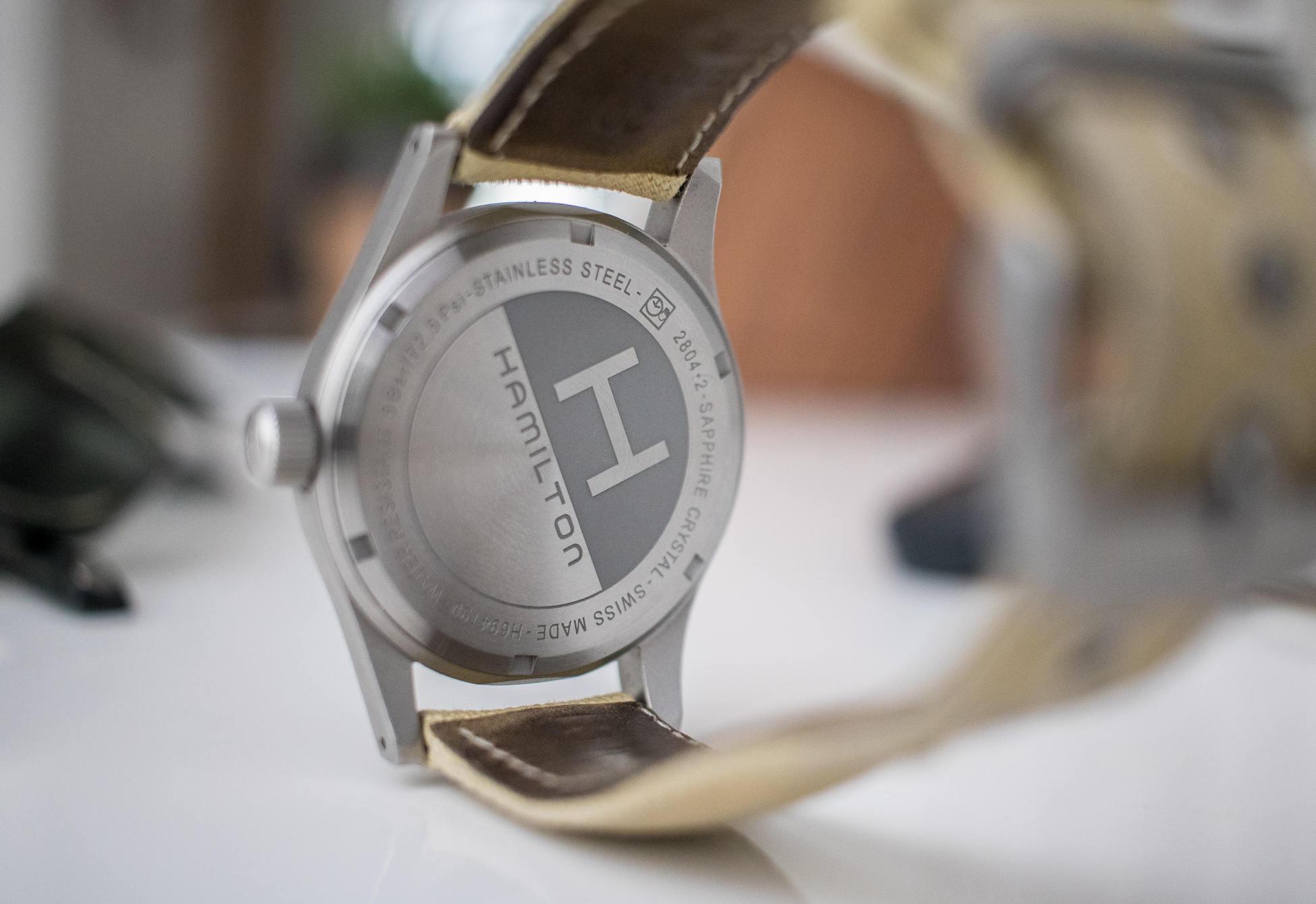 Hamilton Khaki Mechanical watch back view