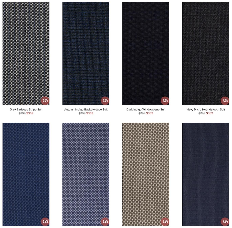 Indochino fabric selection