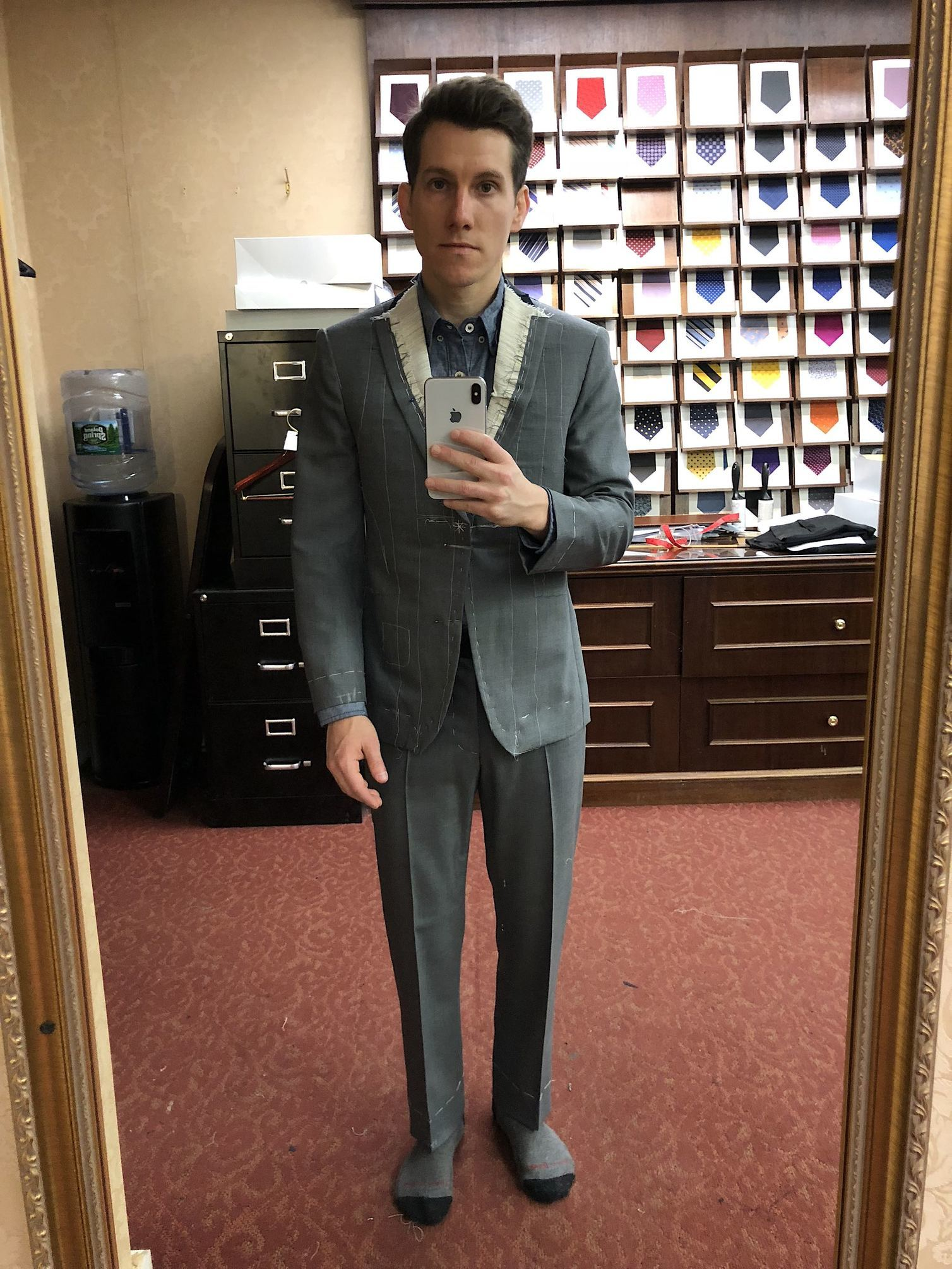 Alan David bespoke suit basted fitting