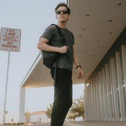 Grey t-shirt black jeans