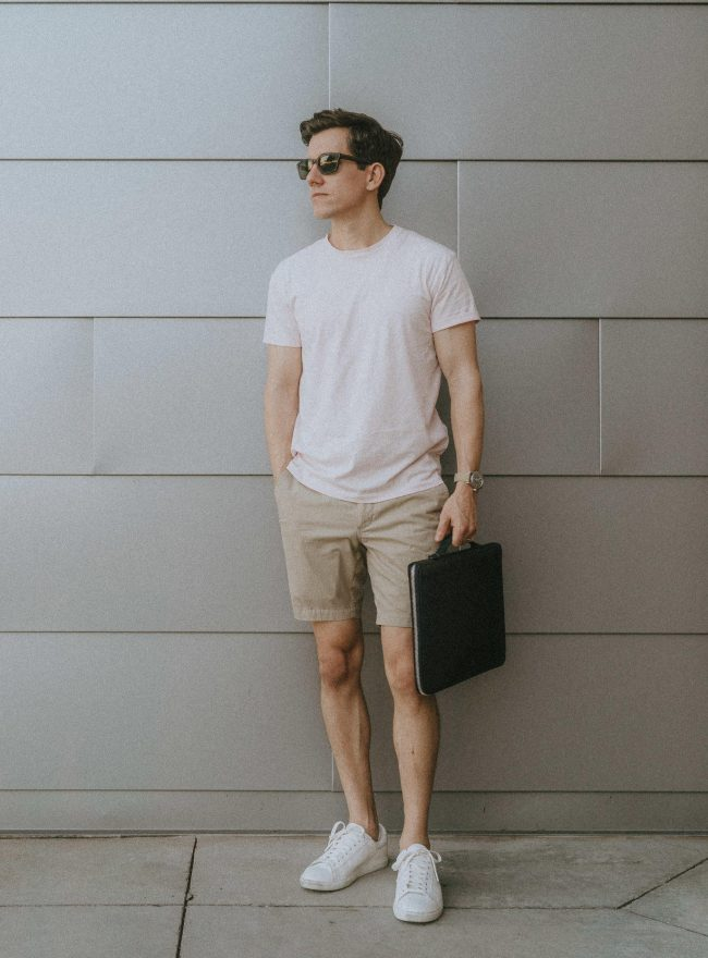Pink t-shirt khaki shorts