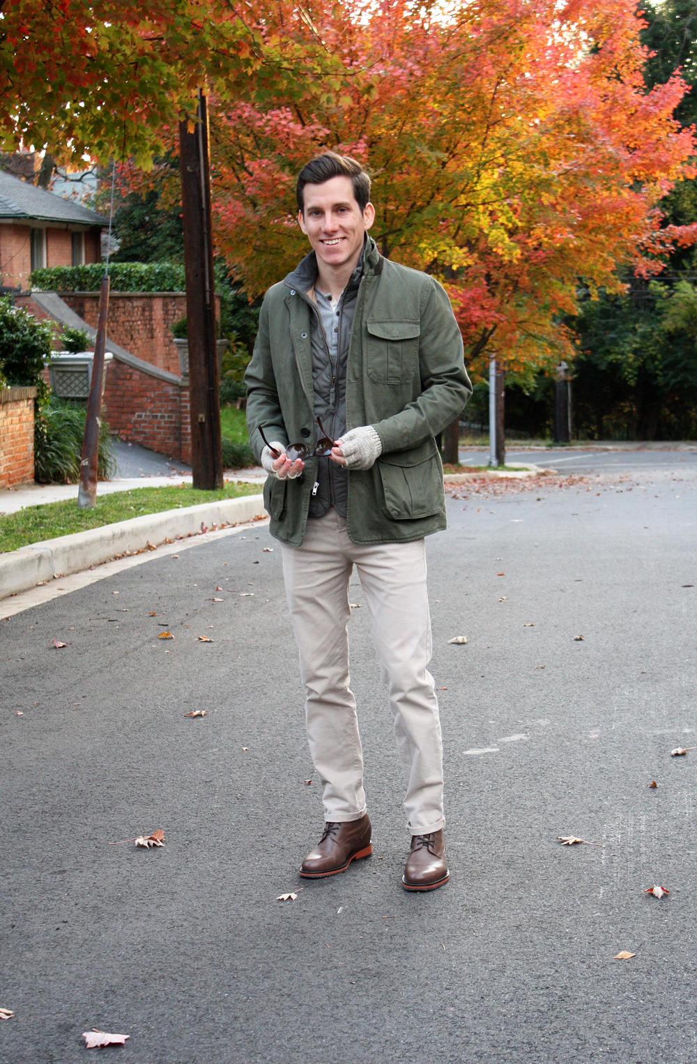 Grey Walker Vest under field jacket
