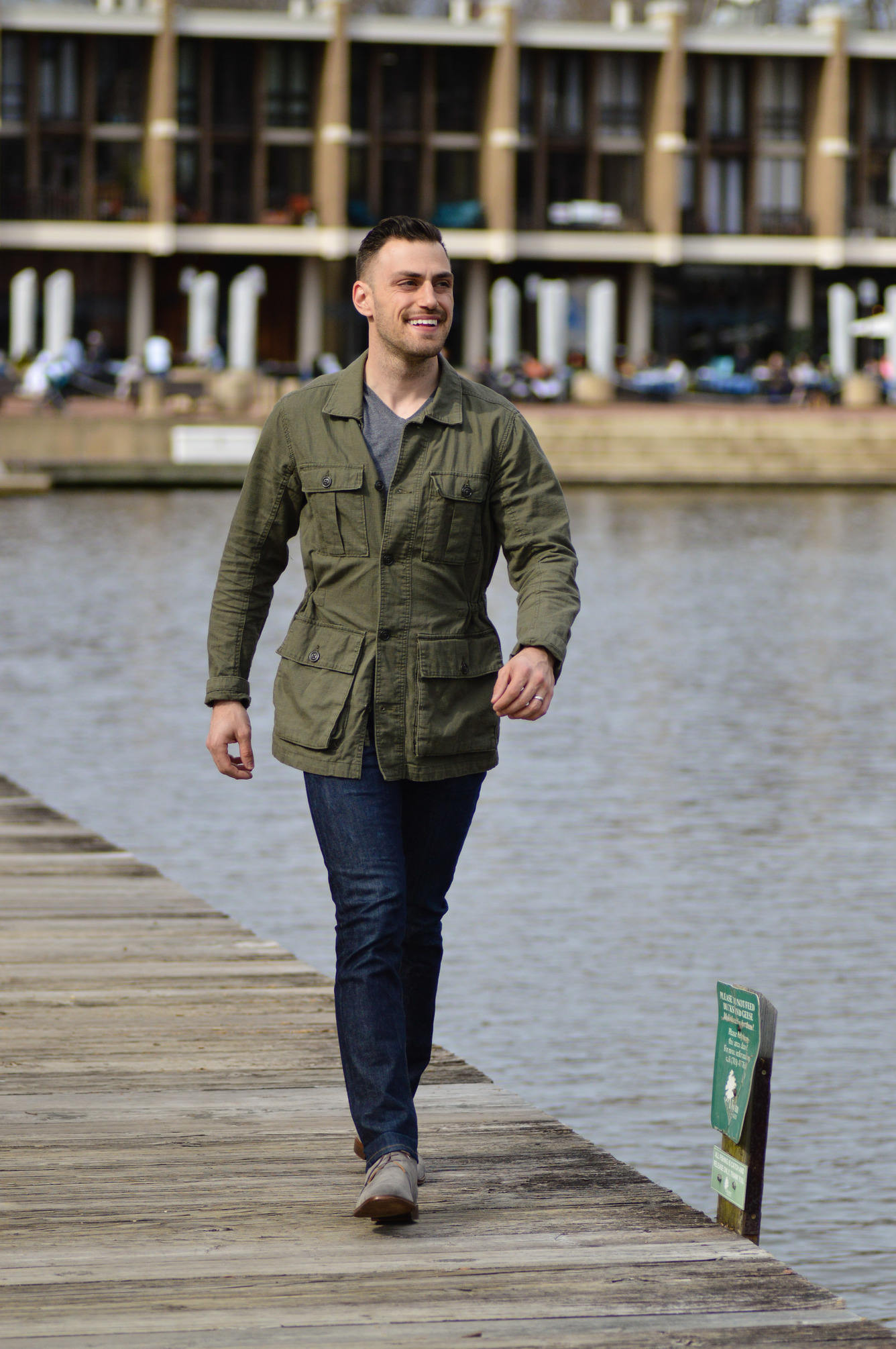 Field jacket with jeans and chukkas