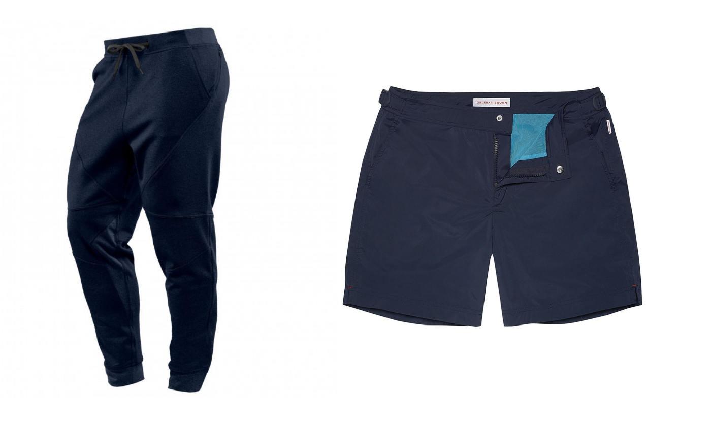 Lounge pants and swim trunks