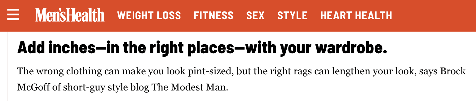 A snippet from an interview with Men's Health