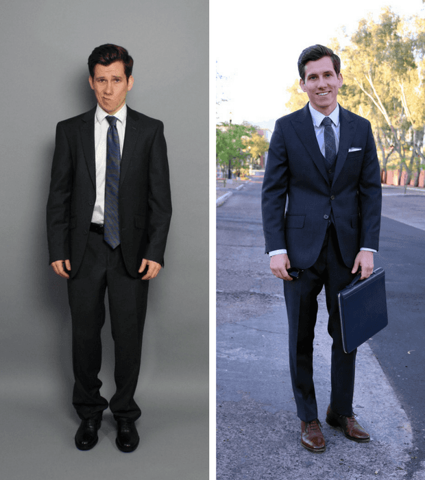Bad fit suit and dress shirt vs good fit