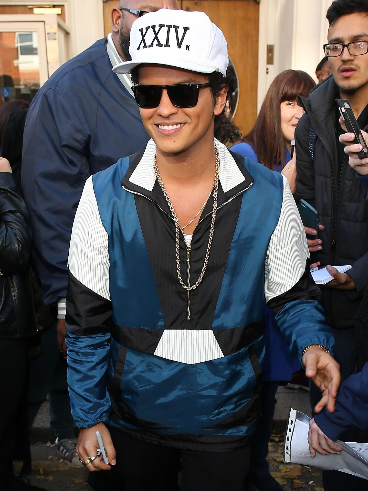 Bruno Mars in a pullover anorak