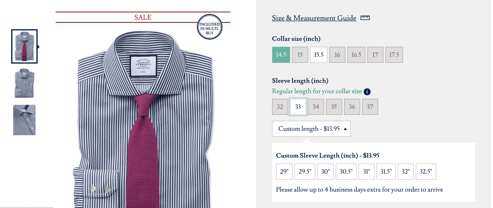 Charles Tyrwhitt dress shirts for short men