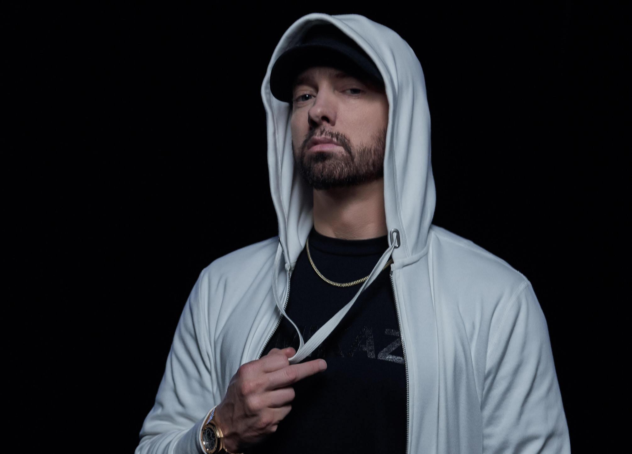 Eminem wearing a hoody