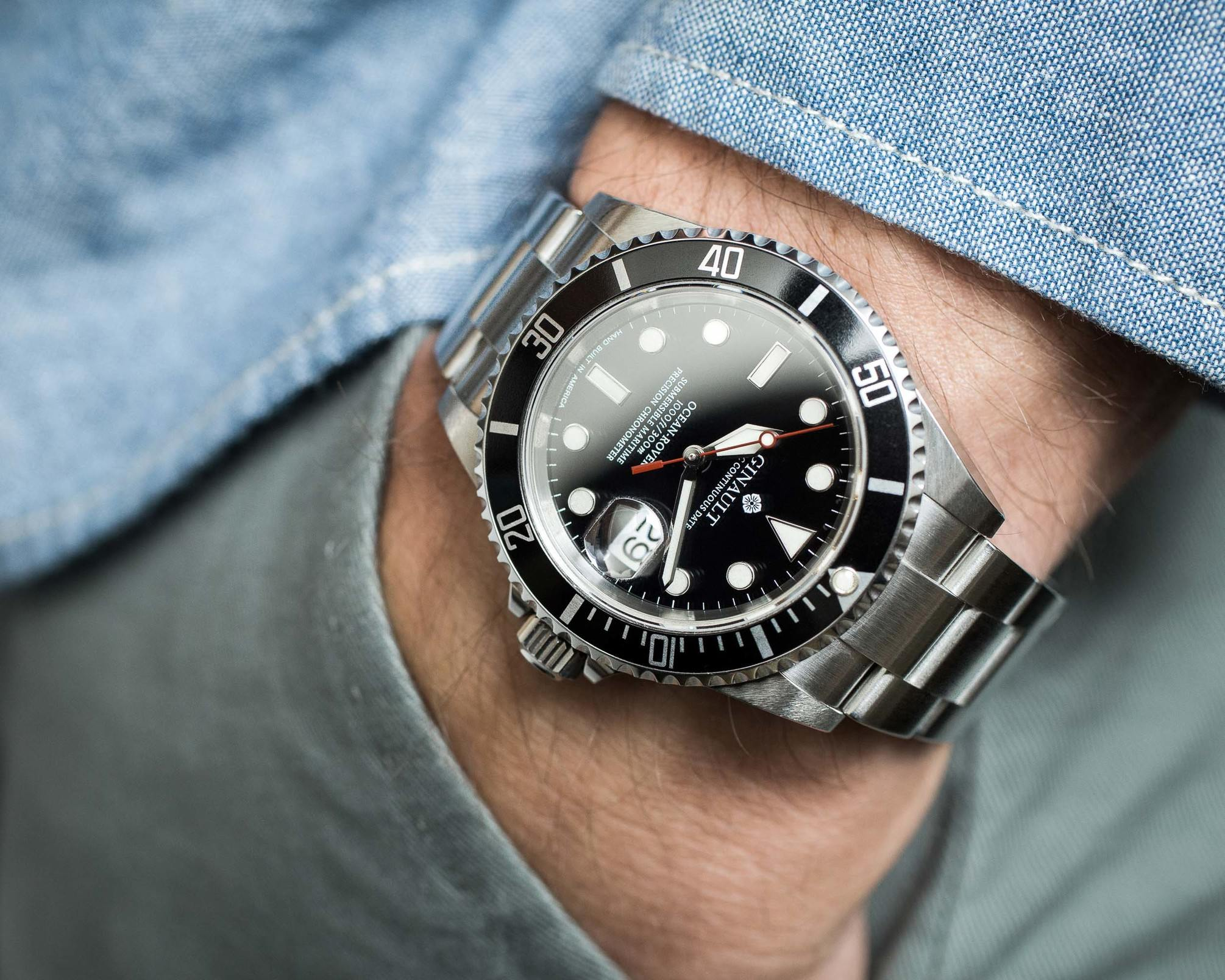 Ginault Ocean Rover on wrist close up