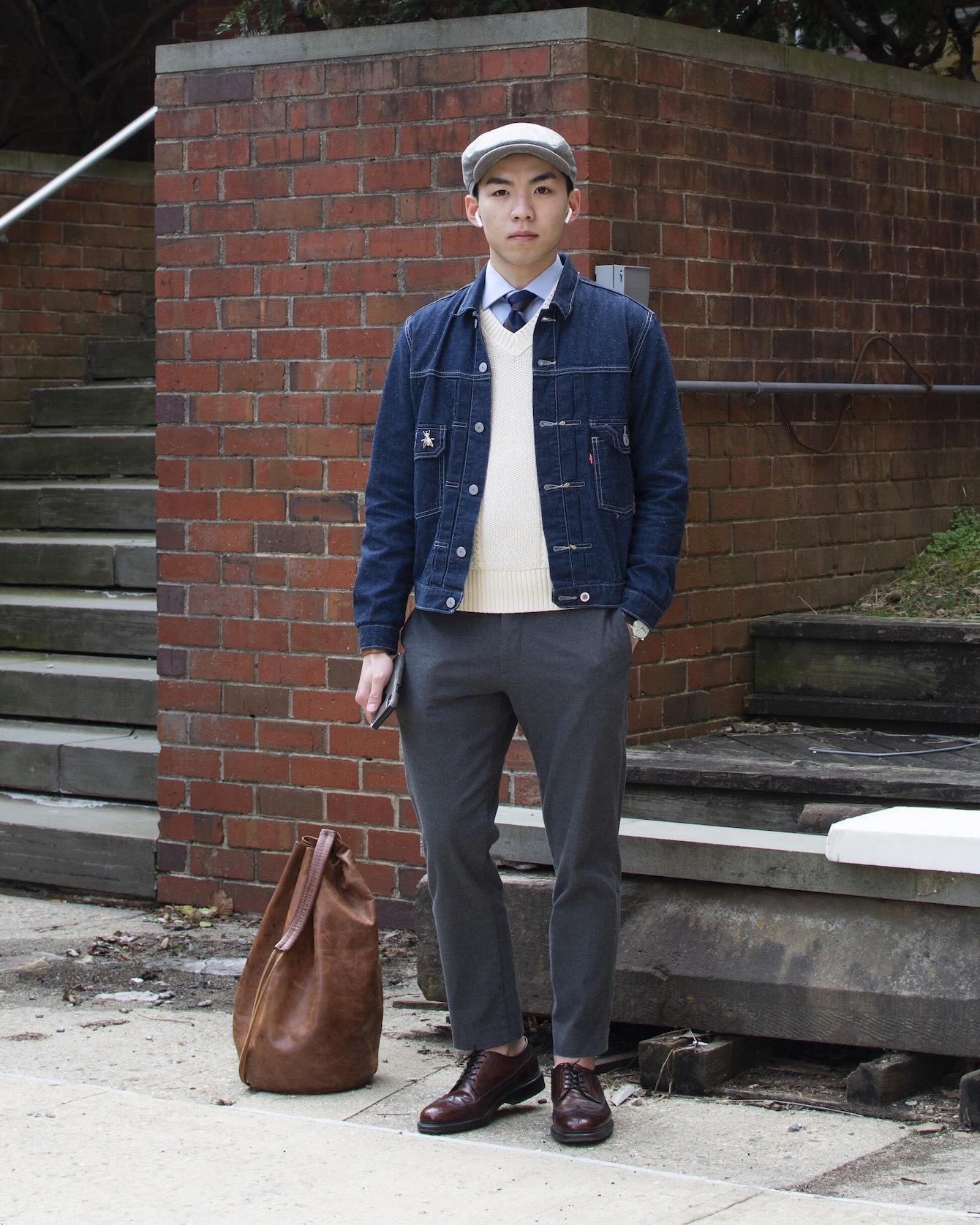 Humphrey Tsui wearing a preppy outfit