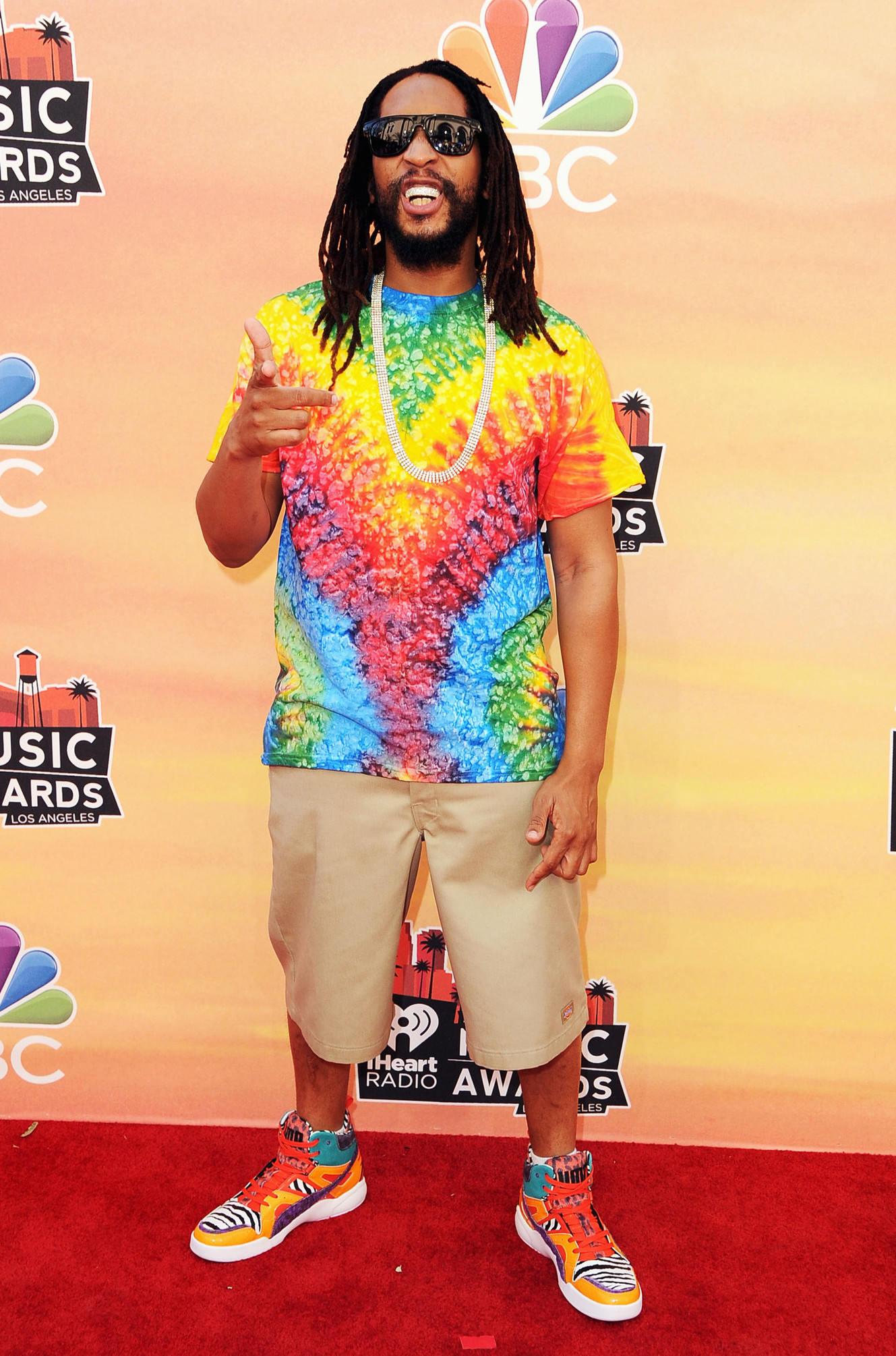 Lil Jon wearing a tie-dyed tshirt