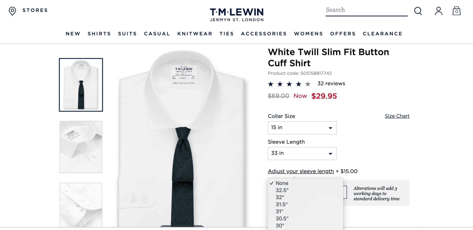 TM Lewin dress shirts for short men