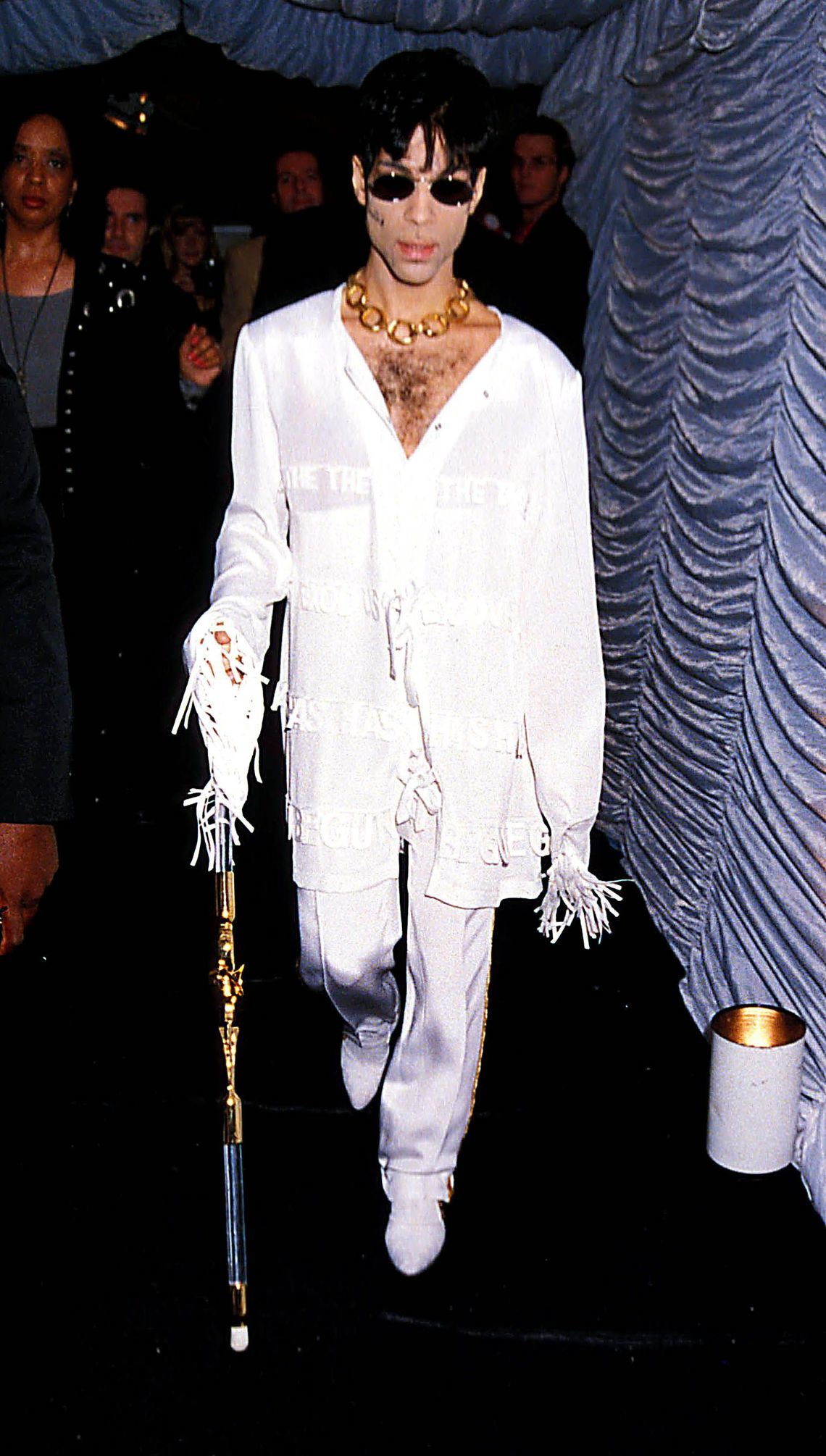 Prince in an all white ensemble